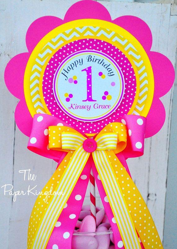 Party Centerpiece, Luxurious  XL Table Centerpiece, Pink and Yellow Chevron Centerpiece