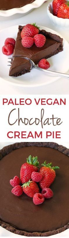 Paleo vegan chocolate cream pie with an ultra silky chocolate filling and a chocolate cookie / brownie crust! Made without tofu. Prefer a chocolate fudge pie? Serve it cold for a fudgy texture. #BRMEaster @bobsredmill