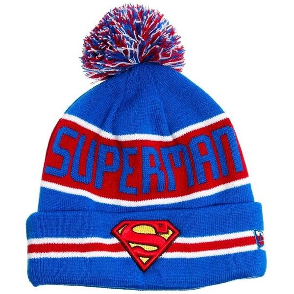 New Era Superman Bobble Hat ($17) ❤ liked on Polyvore featuring men's fashion, men's accessories, men's hats, hats, beanies, accessories, hair, mens knit hats, mens knit beanie hats and mens beanie hats