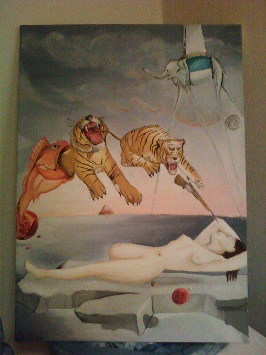 Sogno causato dal volo di un'ape, Salvador Dalì quadro completo per esami   Quadro 50x70 cm