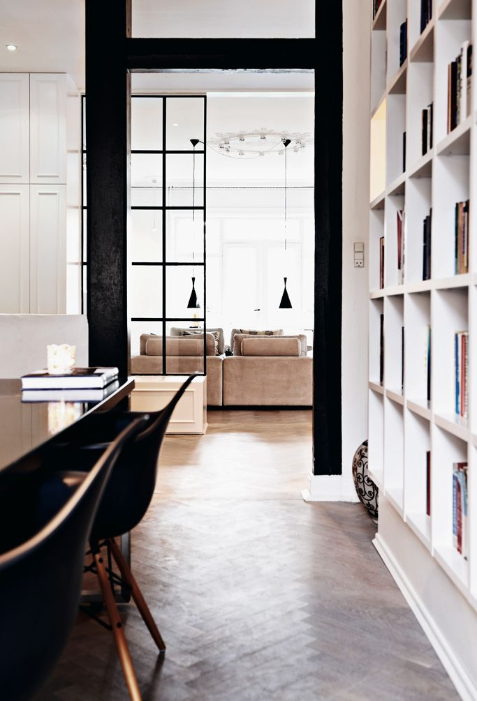 yet more beautiful proportions, especially with the use of rectangles, squares (that bookcase!) and curves (those chairs!) cannot get enough of those shapely, low-hanging lamps // lamp shape 2