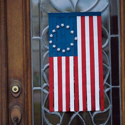 Ribbon Door Flag: Ideas, Doors Hangers, Ribbons Doors, July Crafts, Flags Crafts, Front Doors, 4Th Of July, July 4Th, Doors Flags
