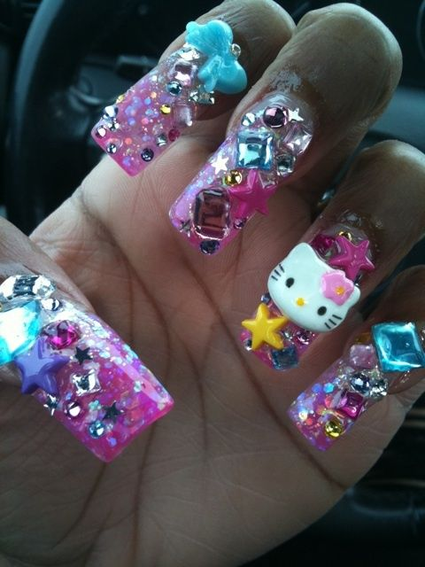"""hello kitty nail art"" More like ratchet nail art. Doin way too much...had to repin!"
