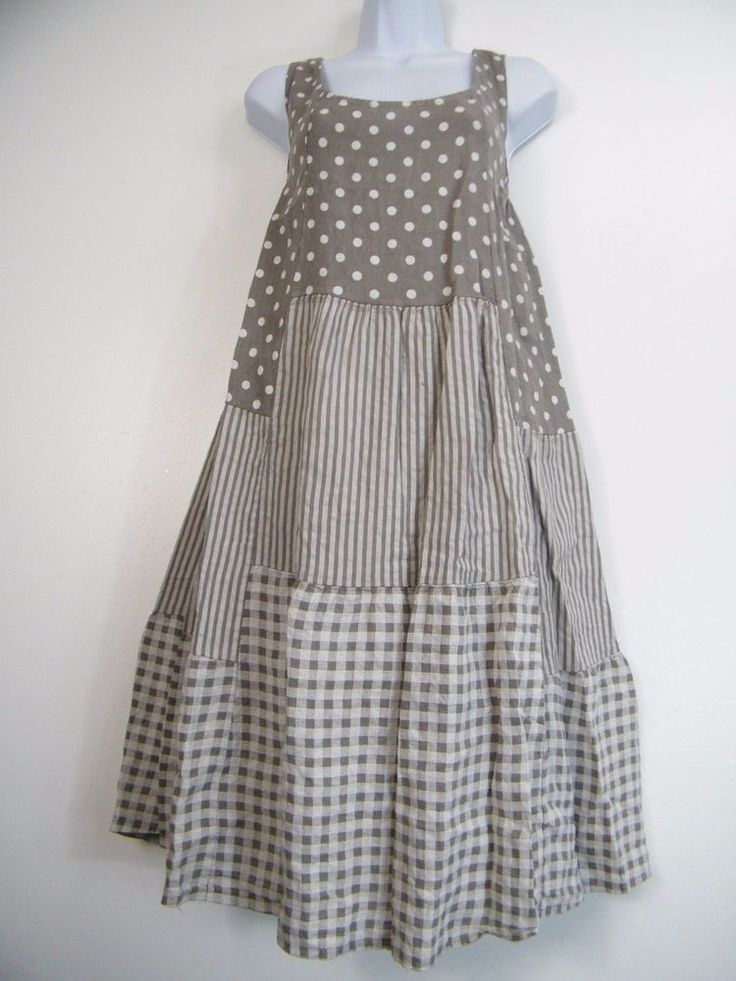 PLUS PLUS SIZE 100% LINEN SPOTTY/STRIPY/CHECK DESIGN LAGENLOOK DRESS SIZE 16-20