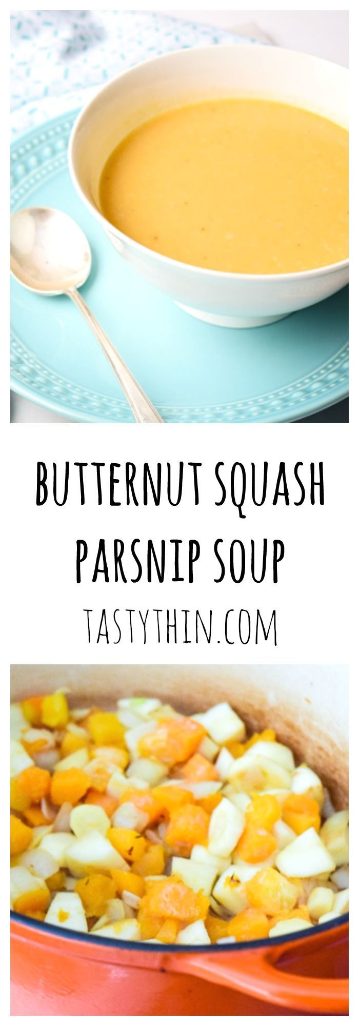 Butternut Squash and Parsnip Soup - a five ingredient recipe full of flavor and so healthy! Perfect for Paleo and Whole30 diets. | http://tastythin.com