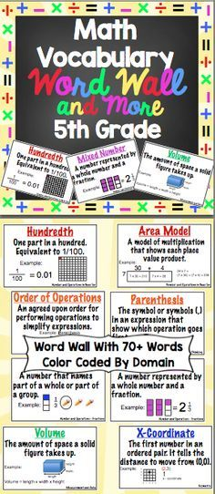 5th Grade Common Core Math Vocabulary Word Wall and More: This 125+ page printable packet contains a printable word wall, flash cards, and vocabulary flip booklets! The flip books are perfect for interactive math notebooks! Available for grades 3 - 6. $
