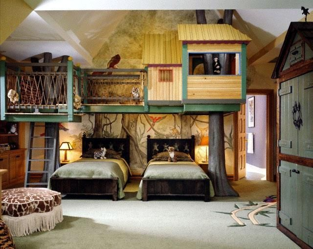 Cool interior kids bedroom with the tree house style for Cool kids bedroom designs