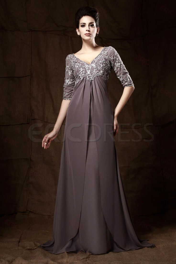 Graceful Lace/Appliques Sheath/Column V-Neck 3/4-Sleeves Floor-Length Talines Mother of the Bride Dress
