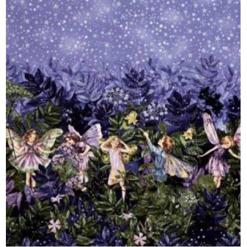 From The Estate of Cicely Mary Barker and licensed to Michael Miller, this cotton print features glitter accents throughout and is perfect for quilting, apparel and home decor accents. Design: This cotton prints features a double border of whimsical flower fairies. This fabric features a