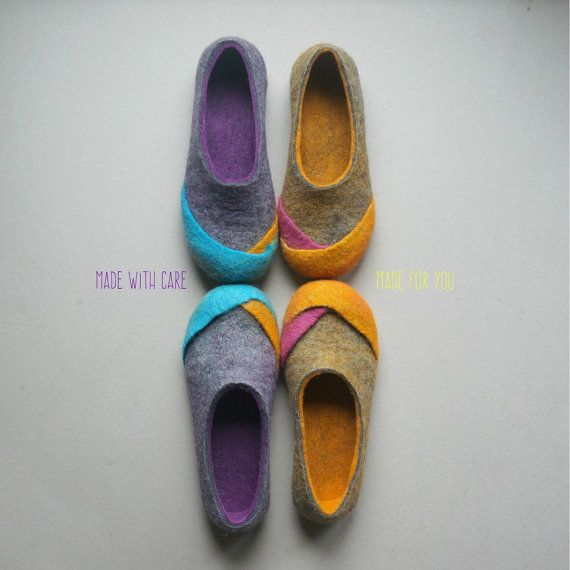 "Handmade felt wool slippers are made from 100% wool felted by hand. These wool home shoes unique design. ""Wool is light as fluff and warm like fire"". These felt slippers produced by hand using only soap and water. Slippers lightweight pair weighs about 200g. These slippers pleasure legs. Gives the feeling of warmth and comfort, prevents footsteps neither cold nor hot. FELT SLIPPERS MADE OF: * 100 % soft merino wool felted by hand (I use only highest quality materials) * you can choose soles…"