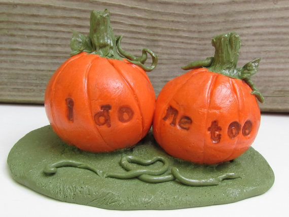 Check out this item in my Etsy shop https://www.etsy.com/listing/247039922/pumpkin-wedding-cake-topper-i-do-me-too
