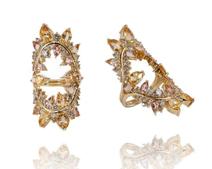 FERNANDO JORGE Желтое золото, белые и коричневые бриллианты, империал топаз