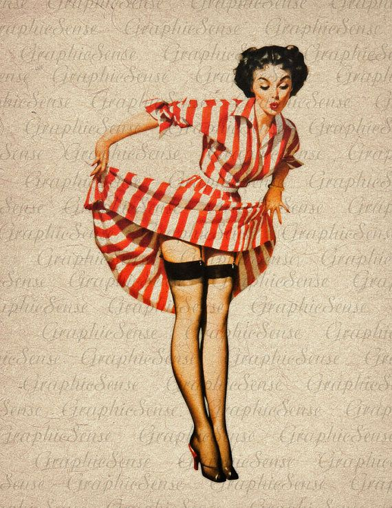 Pin Up Girl Vintage Illustration Really want a pin up tattoo! So awesome!