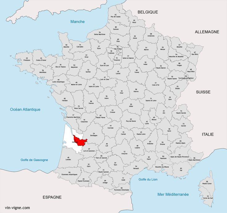 Carte de la région viticole d'Entre-deux-mers