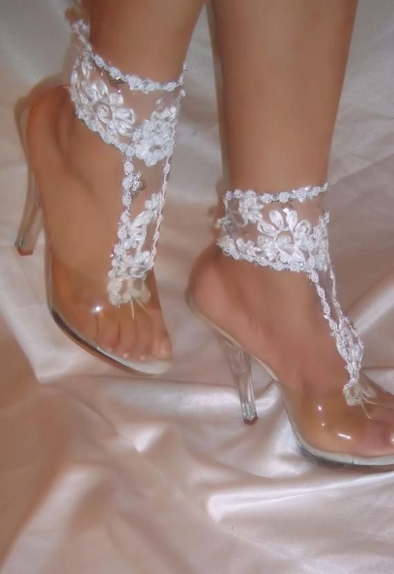 Barefoot Sandals Wedding Sandals White Lace Barefoot Sandals