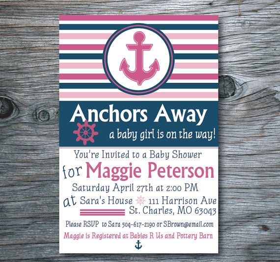 Nautical Baby Shower Invitation, Anchor Baby Shower Invite, Pink & Navy Baby Shower Invitation on Etsy, $14.00