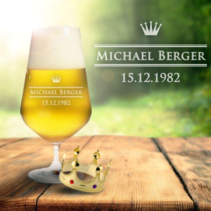 Bierglas mit Gravur - Royal via: monsterzeug.de