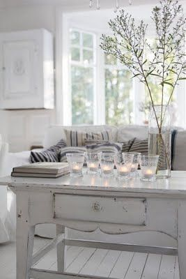 Soft lights: Decor, Interior, Candle, Coffee Tables, Living Rooms, Shabby Chic, Livingroom, White, House