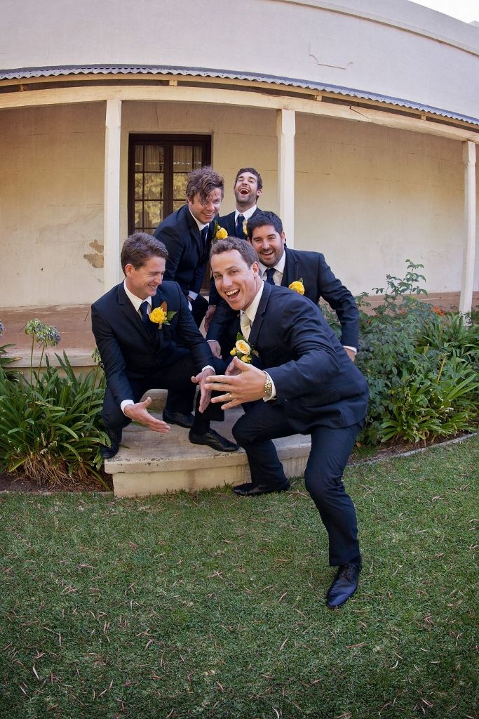 I do love this photo. Groom seems pretty pleased with his new relationship status and I love how excited they all are. We had a lot of fun with our photographer. #Rustic #Wedding #Photography #Yellow #Bridal_Party #Groom #Groomsmen