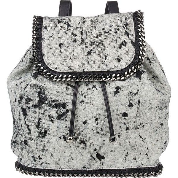 Stella McCartney Splash Falabella Backpack ($979) ❤ liked on Polyvore featuring bags, backpacks, multi, black and white backpack, black and white bag, rucksack bag, flat bags and stella mccartney bags