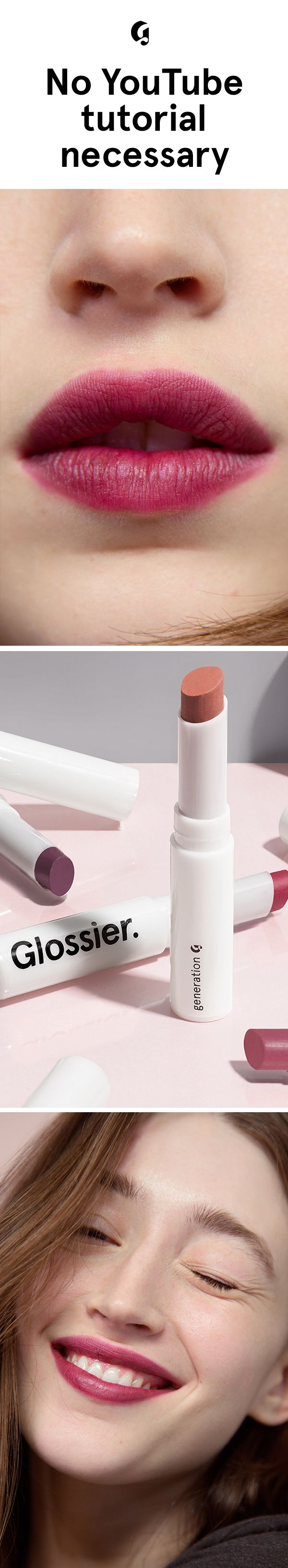 Meet Generation G sheer matte lipstick. Our unique, non-drying formula gives your lips a soft, popsicle-stain flush of color. No liner, no blotting, nothing complicated--just swipe onto naked lips! Comes in four shades that'll look really good on you. Yours at Glossier.com.