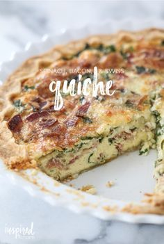inspired by charm Spinach, Bacon, and Swiss Quiche http://inspiredbycharm.com/2016/01/spinach-bacon-and-swiss-quiche.html via bHome https://bhome.us