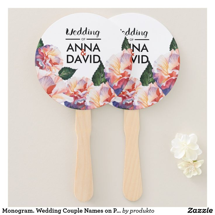 Wedding Couple Names On Pink Flowers Hand Fan