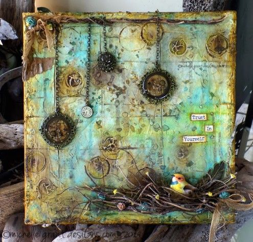 mixed media canvas by Michelle Grant desiGns via Marjie Kemper's Tuesday's Tutorials Weekly Blog Series, Week 33