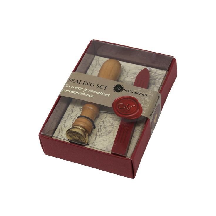 Seal your letters the traditional way with this Wax Seal Set. The set includes a wooden handle with a brass seal design, sealing booklet and red postable wick wax. The design of the seal is a fleur de lys, a classic historical symbol. Packaged into a presentation box, this set is a perfect addition to your desk or office and makes a lovely gift for someone who has a passion for stationary.