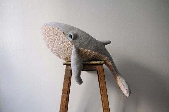 Big Whale Stuffed Animal <0> Plush Toy <0> Cotton Jersey & Cotton Faux Fur
