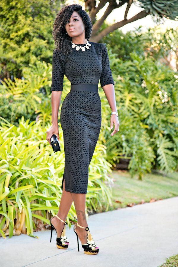 Style Pantry | Black Diamond Print Midi Dress