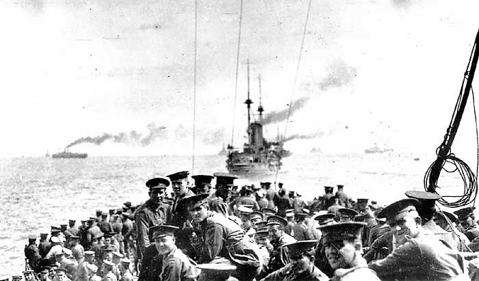 11th Battalion Australian Imperial Force and 1st Field Company Australian Engineers on HMS London sailing 24th April 1915 from the Greek Island of Lemnos for the landing on Gallipoli