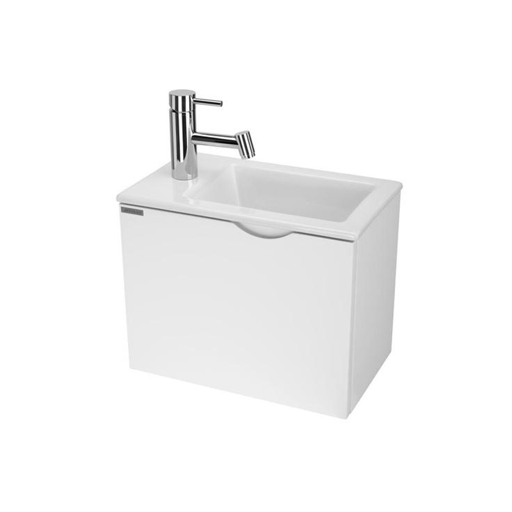 Meuble  lave-mains en mélamine 19mm Finition caisson et façade en MDF colori Blanc brillant 1 porte basculante avec poignée intégré dans la façade Dimensions: 40.8 x 24.7 x (H) 32cm Lave-mains en céramique blanche avec Monotrou percé pour la robinetterie. Dimensions: 41.8 x 18 cm