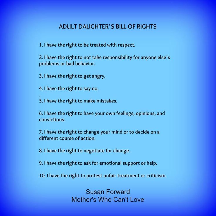 Adult daughters of narcissistic mothers bill of rights.