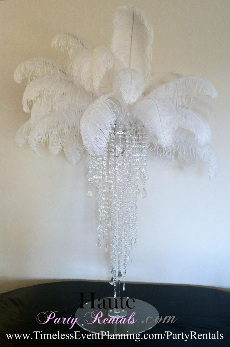 Feather Centerpiece Clear Base with Crystals | For the ...