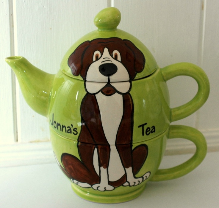 Hand Painted Personalised Ceramic Boxer Dog Tea for One Teapot and cup gift.