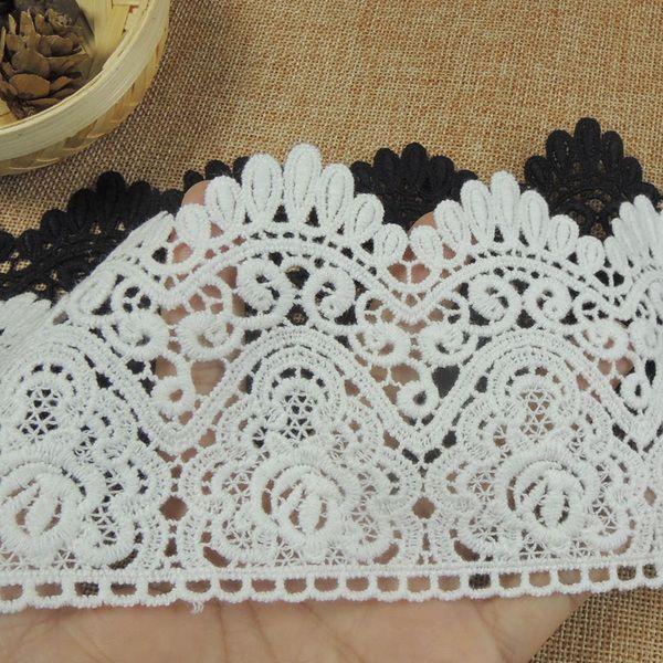 Растворимые аксессуары кружева одежды ручной работы поделки платье хлопка кружева, украшенные черной юбке шириной 9см