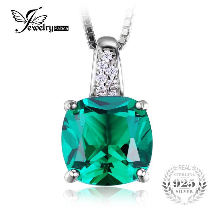 Jewelrypalace cojín 3.4ct verde creado nano ruso solitario esmeralda colgante plata 925 joyería para las mujeres regalo