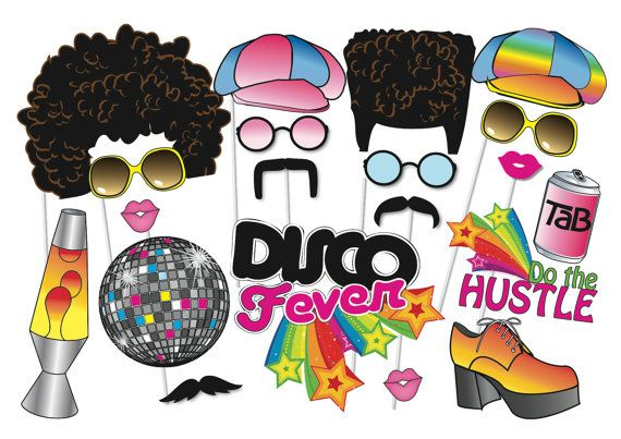 70s Party Photo booth Props Set - 21 Piece PRINTABLE - 1970s party decorations, Afro Wig, Disco fever, Lava lamp,Photo Booth Props