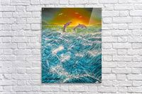 Acrylic Print,  for sale, waves, seascape, dolphins, ocean, scene, sunset,sunrise,nature,water,fish,rough,big,high,crashing,breaking,splashing,spray,blue,playful,jumping,beautiful,fine art, painting, virtual,deviant,awesome,cool,artistic,artwork,decor,items,ideas, pictorem