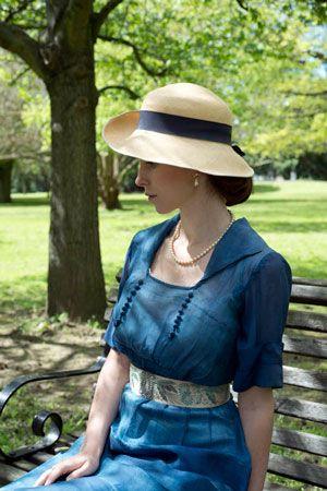 beautiful blue Downton Abbey Edwardian dress and hat...Richard Jenkins Photography