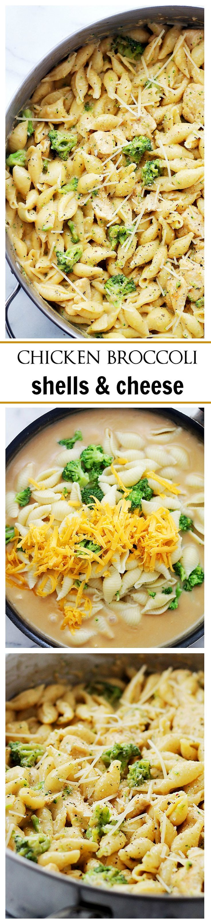 Chicken-Broccoli Shells and Cheese - Homemade, lightened-up shells and cheese, tossed with chicken and broccoli florets.