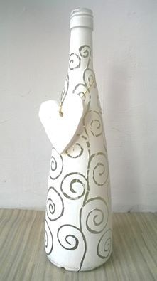 Handpainted bottle - white with a polymer clay heart
