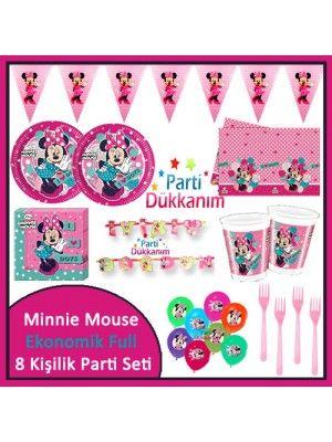 Minnie Mouse Ekonomik Full Parti Seti (8 Kişilik)