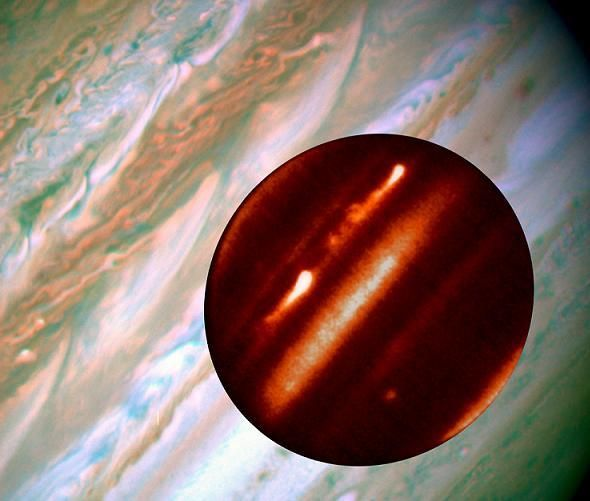 The Jupiter storms depicted show the tempestuous nature of the turbulent planet.