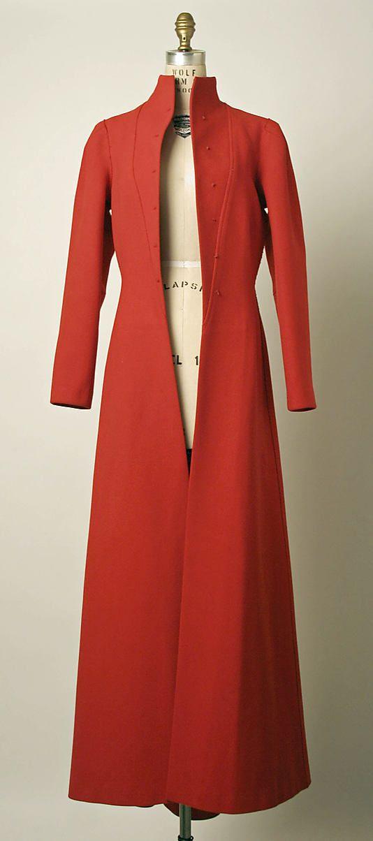 Coat, Evening.  Elsa Schiaparelli (Italian, 1890–1973).  Date: 1935–36. Culture: French. Medium: wool. Dimensions: Length at CB: 66 in. (167.6 cm).