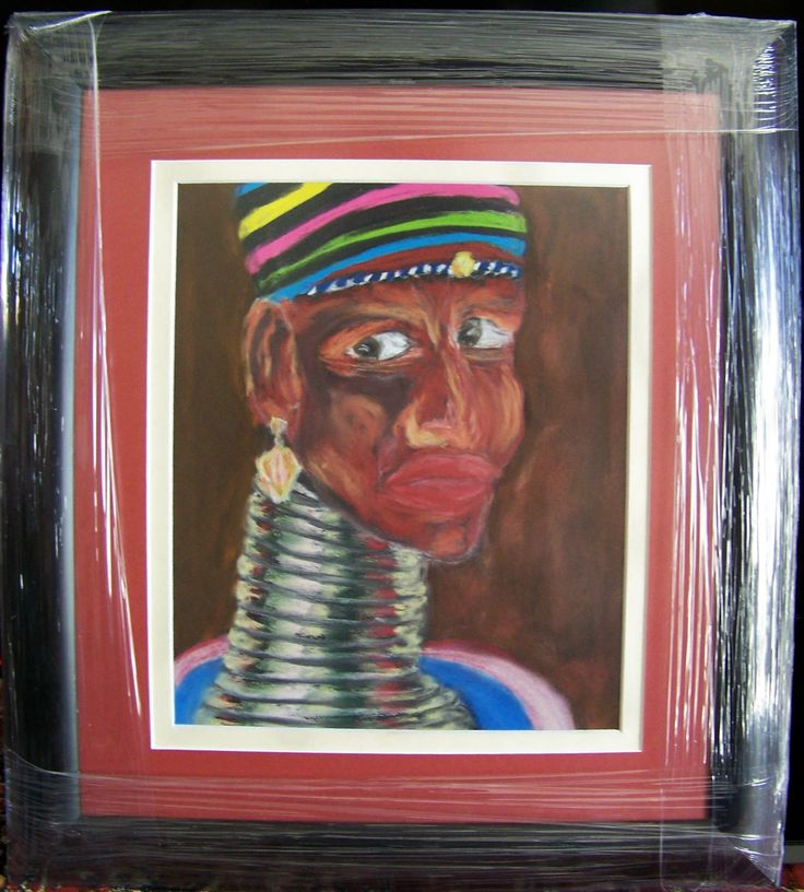 Pastel on sandpaper. The strength in the features of the Ndebele women is inspiring to me as an artist. I try to capture the pride in their posture and somehow give the viewer some slight insight into the complexities of being a modern woman caught in the costume of an aged culture.