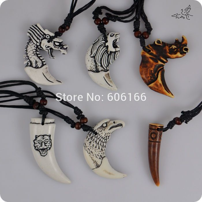 24pc/lot Mix Style Animal Teeth Pendant Necklace Rhino lion wolf dragon eagle tiger Tooth Resin Pendant Necklaces Free Shipping