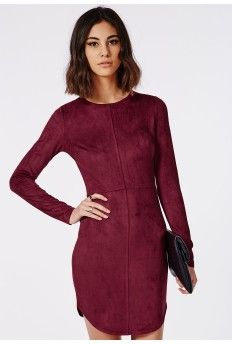 Suede Curve Hem Mini Dress Oxblood