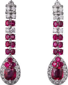 CARTIER Evening Shadows High Jewelry Earrings in Platinum with rubies and diamonds